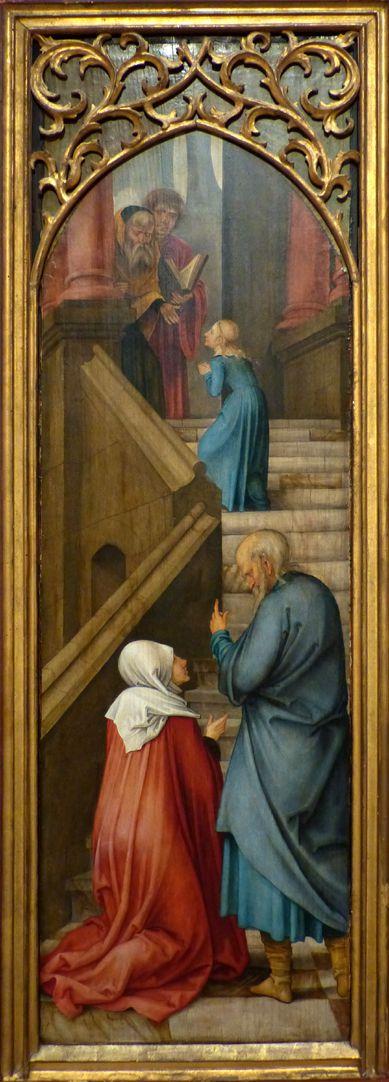 Rosenkranz Triptychon (Madrid) linker Flügel: Joachim und Anna an der Tempeltreppe, das Kind Maria steigt den Priestern entgegen