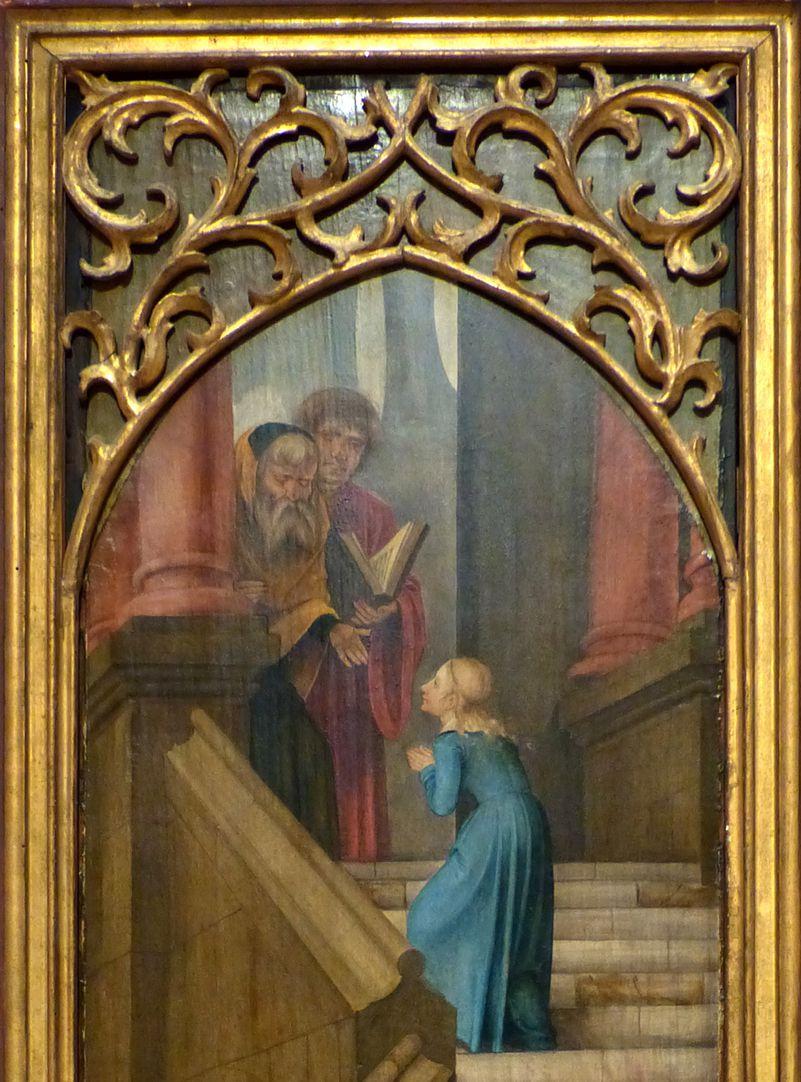 Rosenkranz Triptychon (Madrid) linker Flügel, Maria mit den Priestern