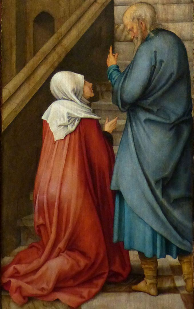 Rosenkranz Triptychon (Madrid) Anna mit dem alten Joachim