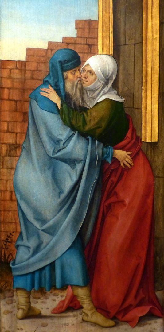 Rosenkranz Triptychon (Madrid) rechter Flügel: Begegnung Anna und Joachim an der goldenen Pforte, Detail