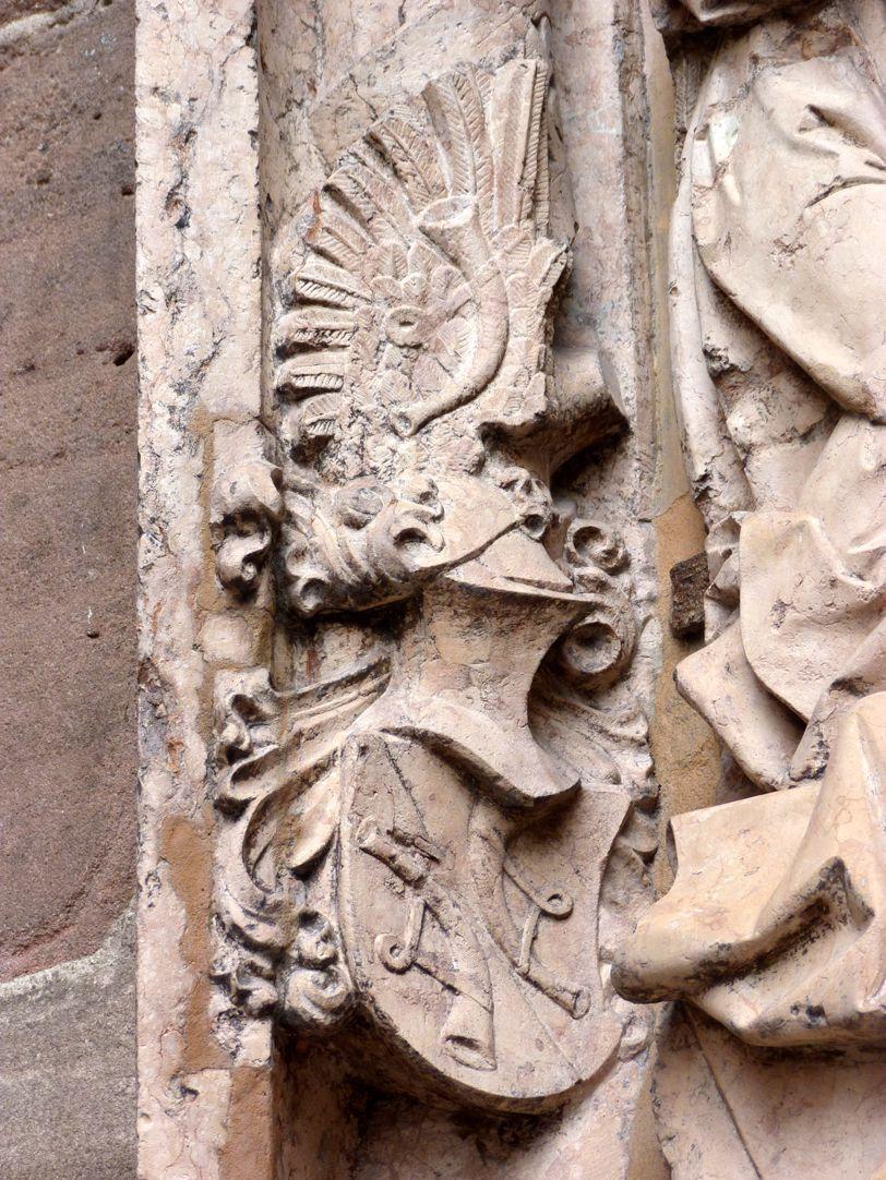 Epitaph des Kunz Horn Hornsches Wappen mit Helm
