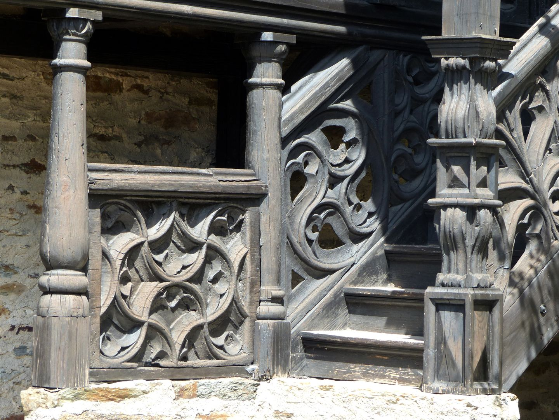 Nachgotische Holzgalerie aus Nürnberg Treppenaufgang Lauenstein, Detail