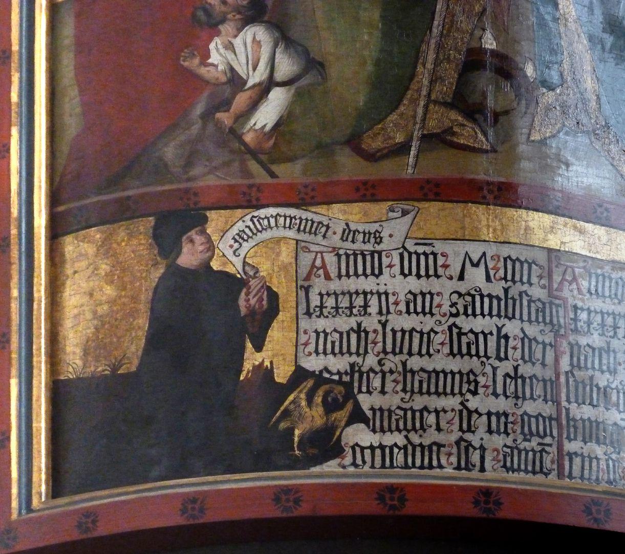 Lehenmaier Epitaph Stifter mit Spruchband: Miserere mei, Deus - Gott, erbarme dich meiner