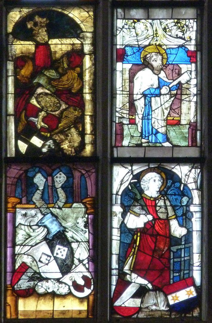 Ratsfenster unterstes Band, linke Hälfte, oben: links Pirckheimerwappen, rechts Petrus; unten: links, Topplerwappen, rechts Laurentius
