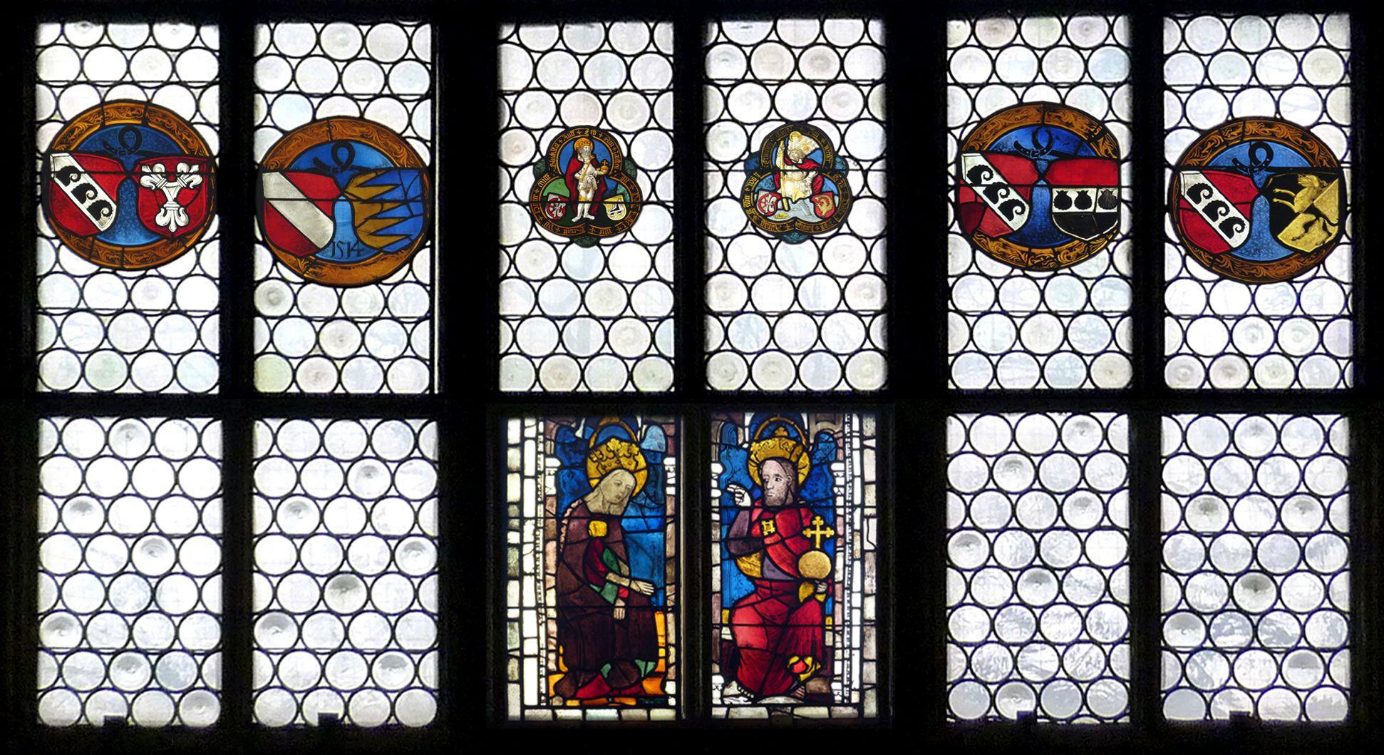 Ehem. Schnöd-Fenster unterste Zeile: unten Verherrlichung der Gottesmutter Maria, spätes 14. Jh., oben Rundscheibenband