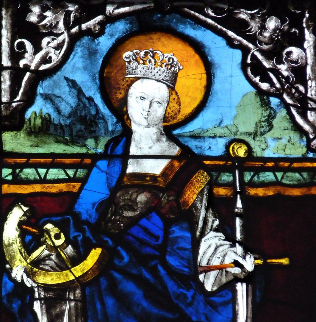 Loeffelholz-Fenster untere Reihe: Katharina als Namenspatronin der Stifterin, Detail