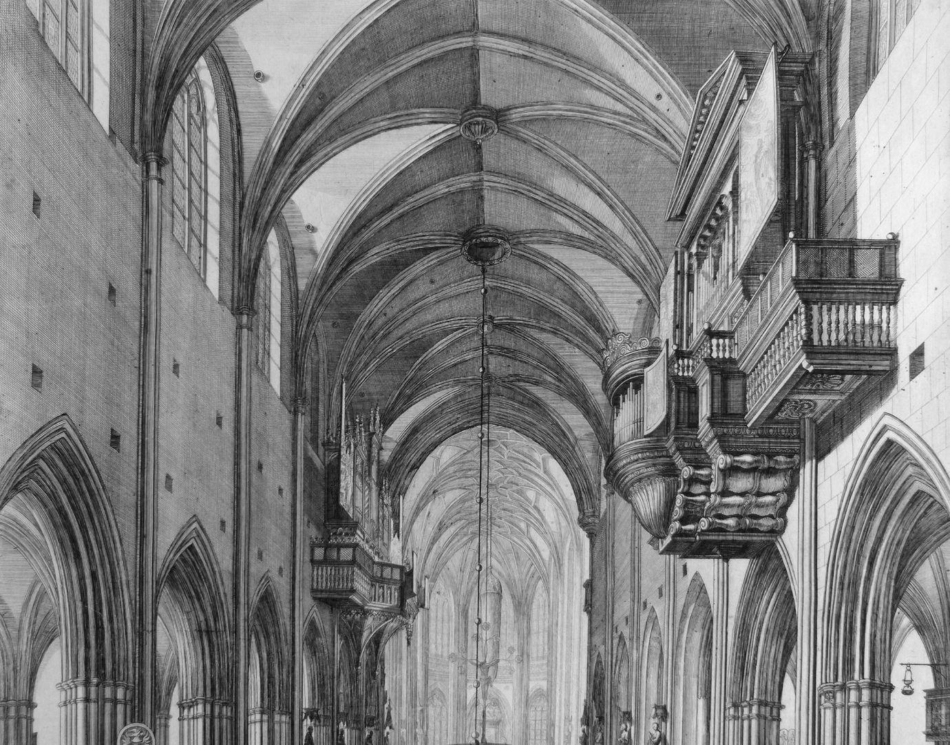 """""""Urbis Norimbergensis Insigniorum Templorum …"""" St. Lorenz Blick in das Langhaus"""
