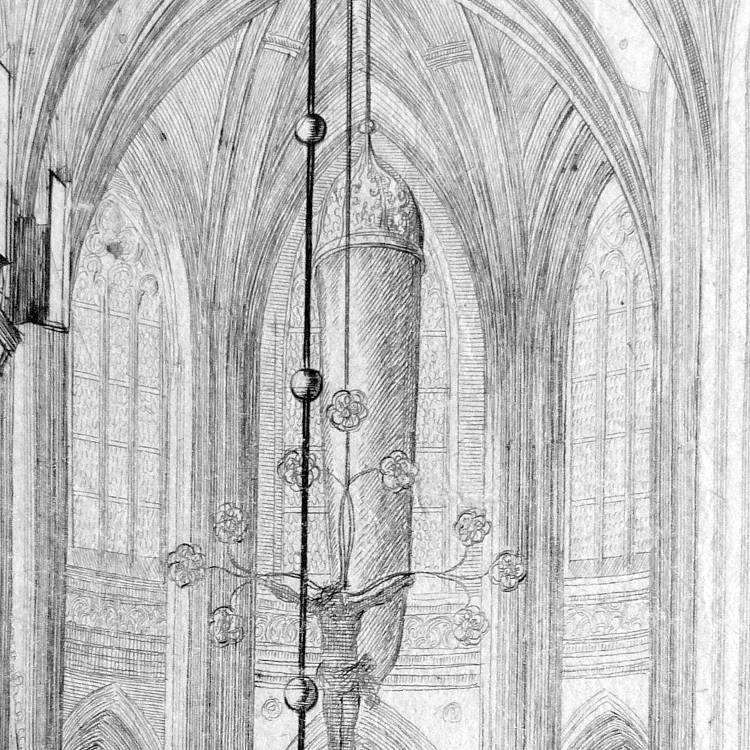 """""""Urbis Norimbergensis Insigniorum Templorum …"""" St. Lorenz Blick in den Hallenchor mit verhülltem Englischen Gruß"""