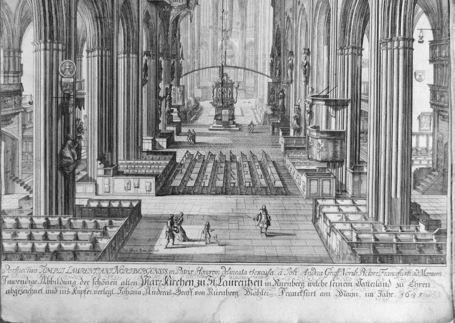 """""""Urbis Norimbergensis Insigniorum Templorum …"""" St. Lorenz untere Bildhälfte"""
