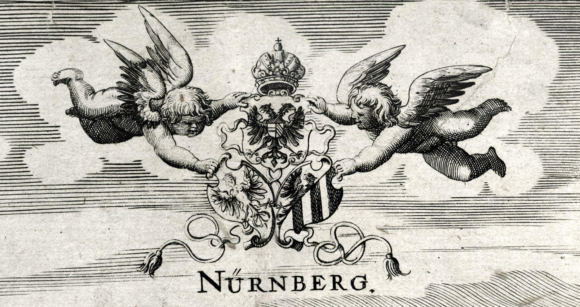 """Nürnberg. """"Als Deutschland stund in ruh, und vor dem sturm der hunnen..."""" zwei Putti mit Wappendreiverein"""