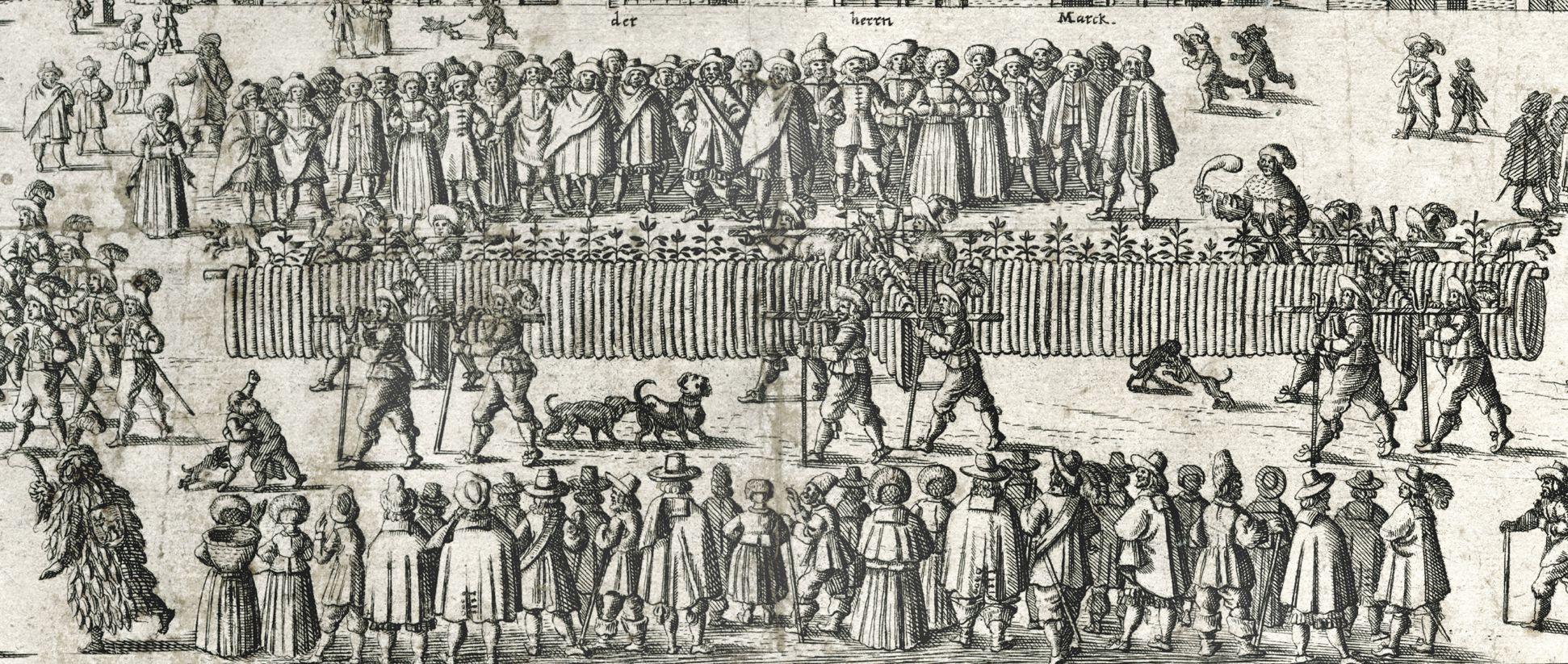 """Nürnberger Bratwurst: """"Aigentliche Abbiltung der langen bratwurst,...."""" Die Wurst wird von 12 Männern getragen"""