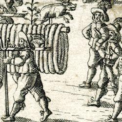 """Nürnberger Bratwurst: """"Aigentliche Abbiltung der langen bratwurst,...."""""""
