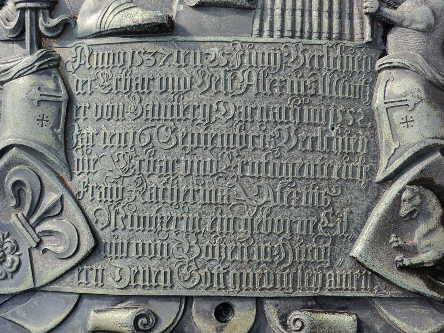 Alexius Müntzer von Bamberg (gest.1537) und Katharina Eisen (gest.1552) Inschrift