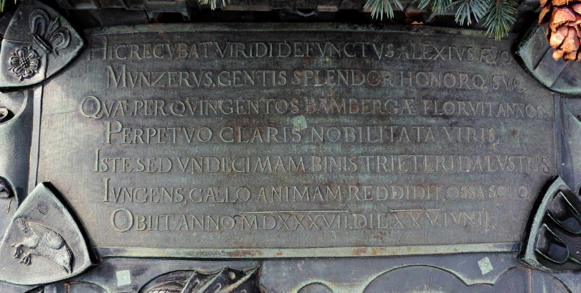 Alexius Müntzer von Bamberg (gest.1537) und Katharina Eisen (gest.1552) lateinische Inschrift