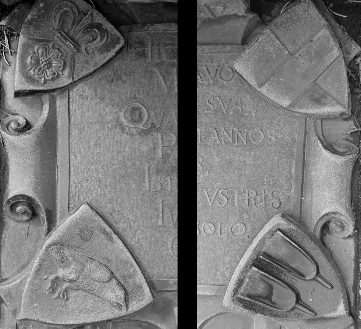 Alexius Müntzer von Bamberg (gest.1537) und Katharina Eisen (gest.1552) Wappen der lateinischen Inschrift