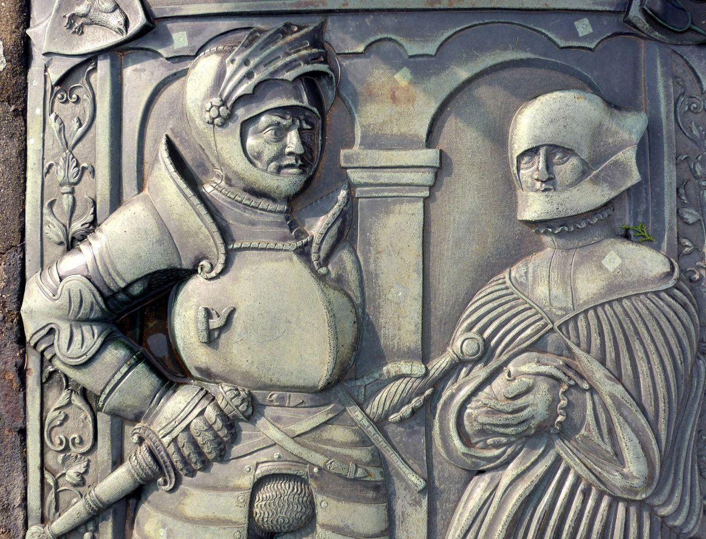 Alexius Müntzer von Bamberg (gest.1537) und Katharina Eisen (gest.1552) Hauptfiguren, Detail