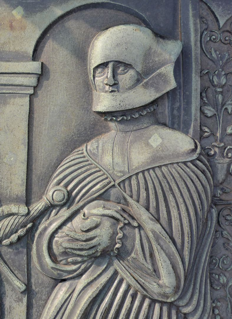 """Alexius Müntzer von Bamberg (gest.1537) und Katharina Eisen (gest.1552) Detail der Katharina Eisen mit """"damaliger adeliger Trauertracht"""""""