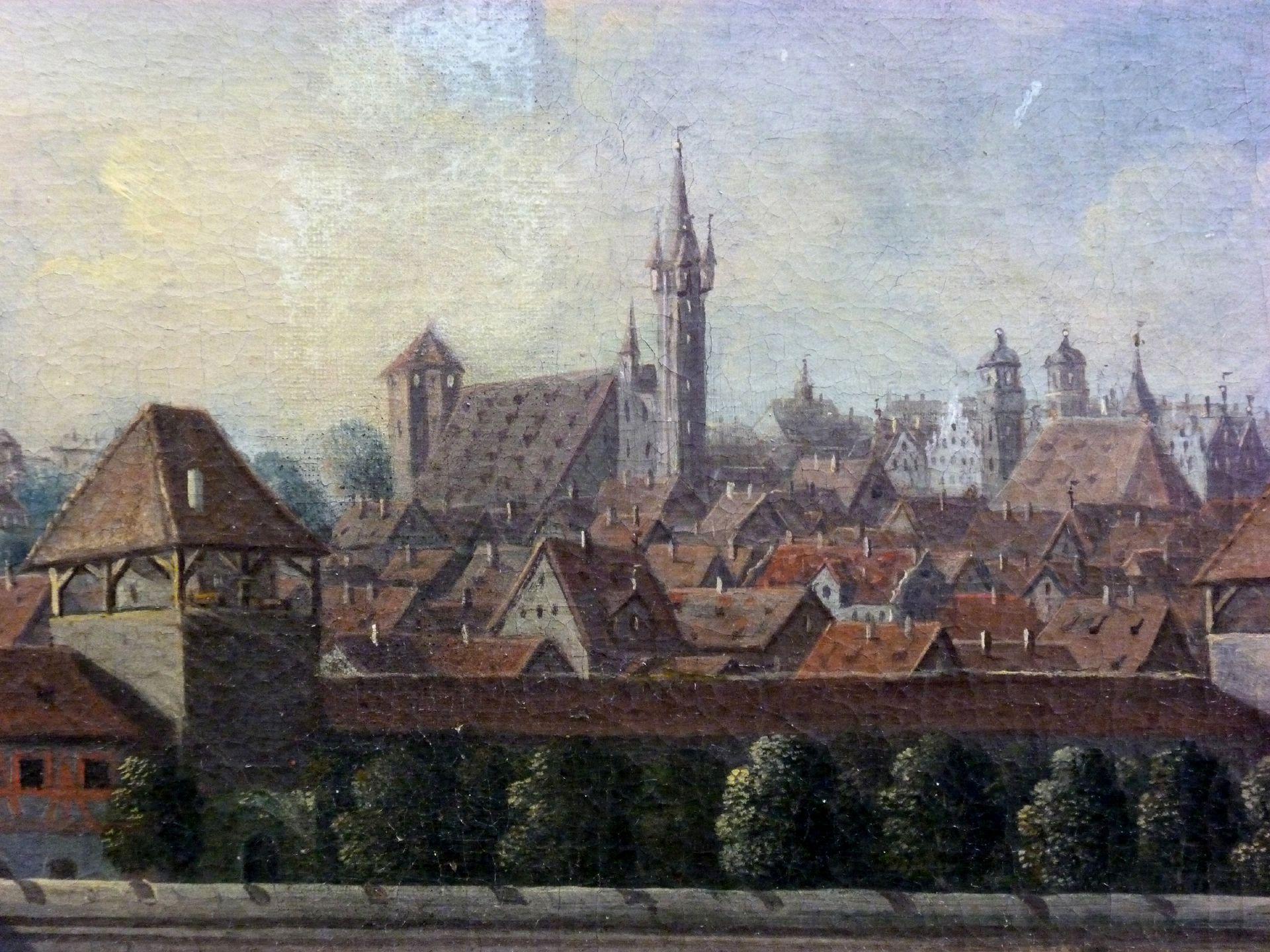 Nürnberger Stadtansicht von Osten Detail mit Mauer (Turm Blau A) Burg und Egidienberg