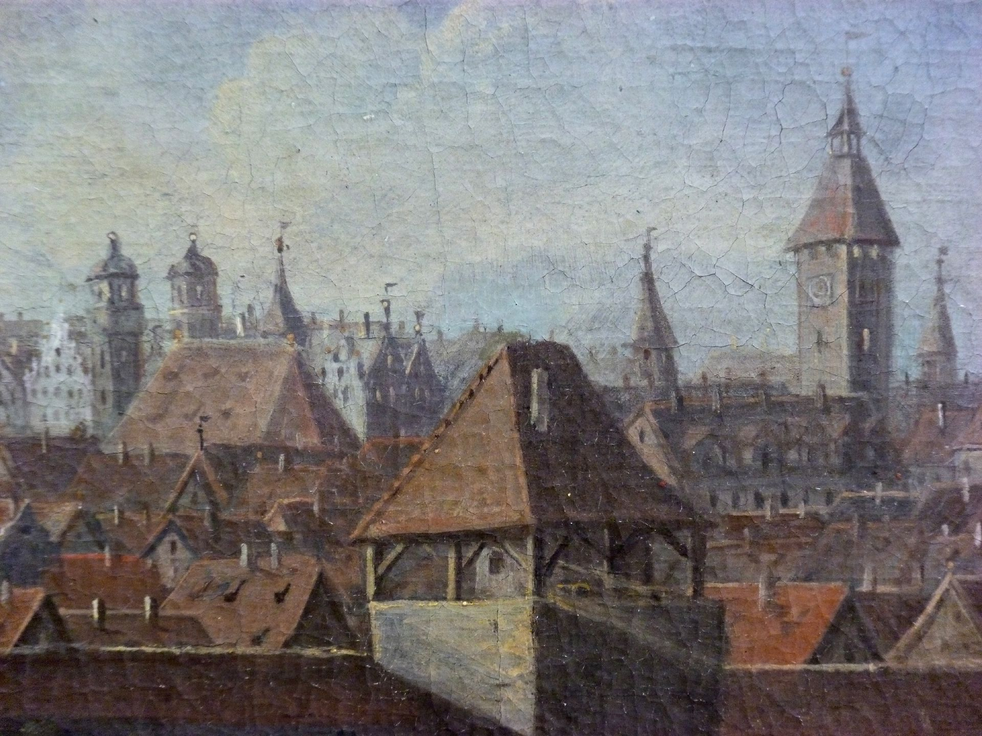 Nürnberger Stadtansicht von Osten Detail mit Egidienberg, Mauer (Turm Schwarz Z) und Innerem Laufer Schlagturm