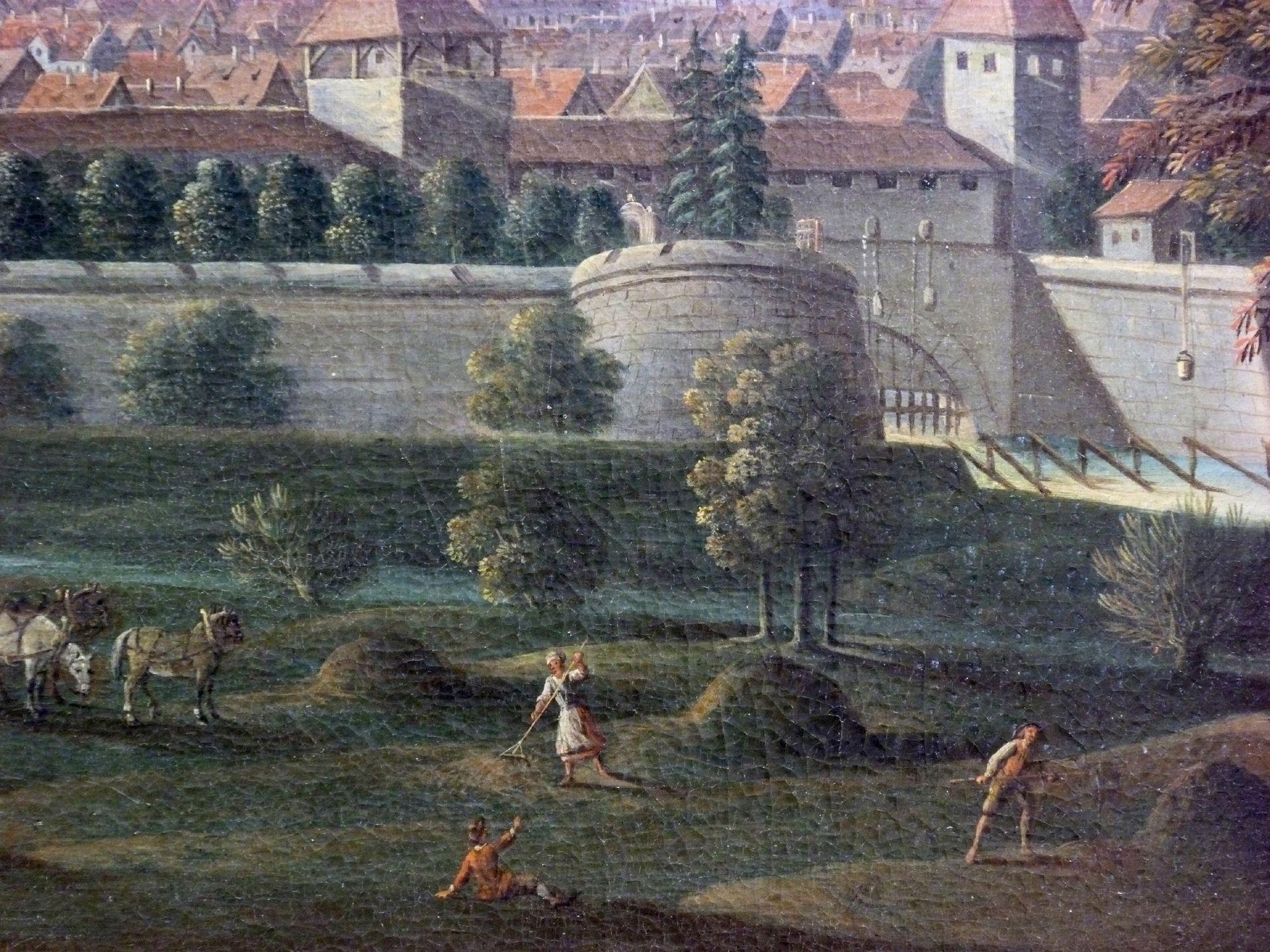 Nürnberger Stadtansicht von Osten Detail mit Wöhrder Wiese, Zwinger vor der Insel Schütt und Zufluss der Pegnitz in die Stadt