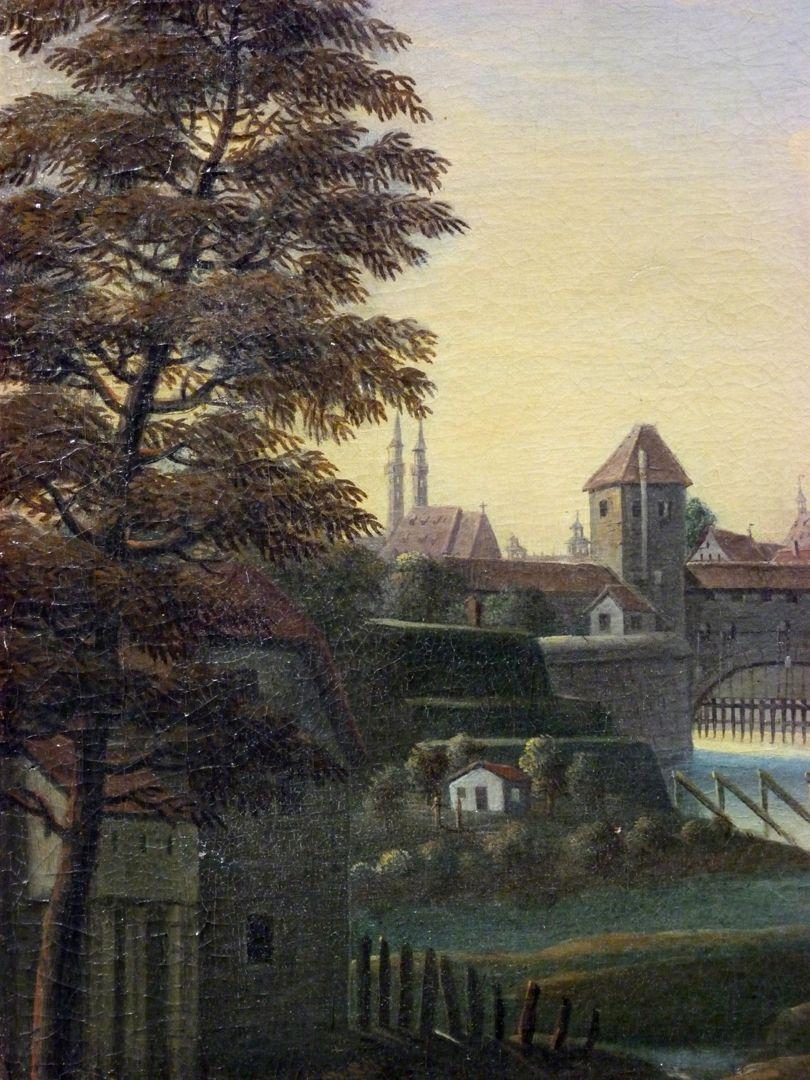 Nürnberger Stadtansicht von Osten Detail mit Wöhrder Wiese, Mauer (Turm Blaues B) und Zufluss der Pegnitz in die Stadt