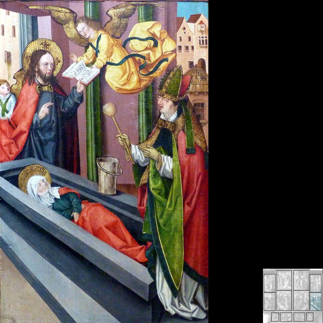 Marthaaltar Martha im Grab, Totenamt durch Christus und Bischof Fronto von Périgueux