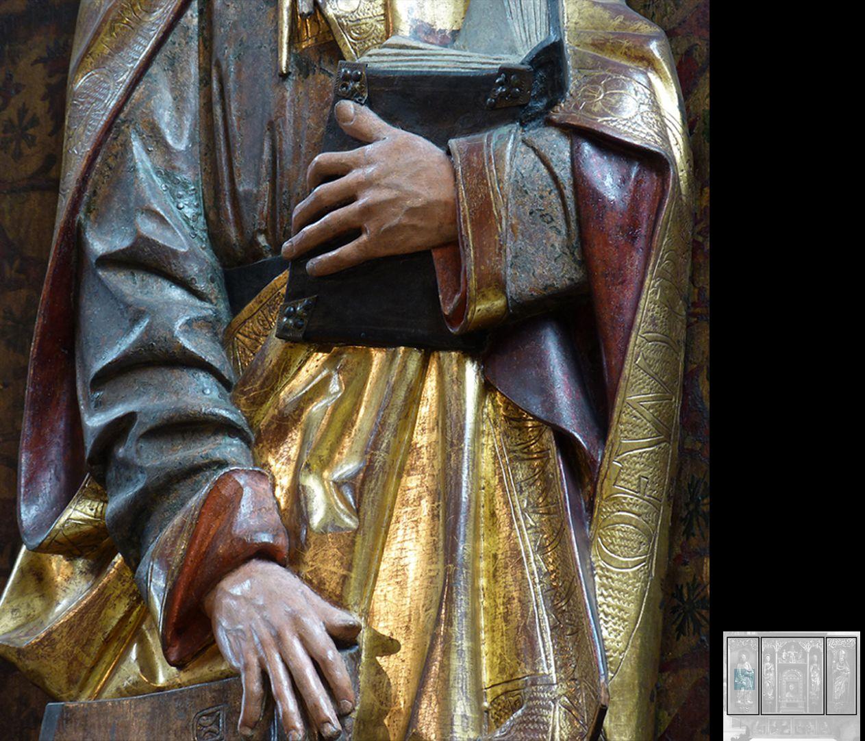 Marthaaltar Apostel Matthias, eine Hand hält das Buch, die andere lehnt auf dem Beil