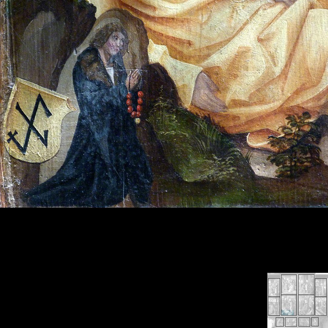 Marthaaltar Das Gleichnis vom reichen Mann und vom armen Lazarus, Stifter mit Wappen