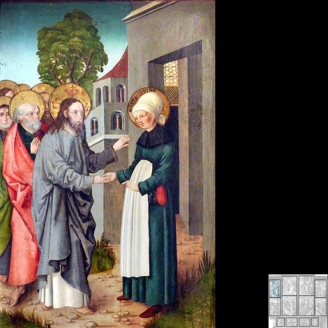 Marthaaltar Martha empfängt Jesus und seine Jünger