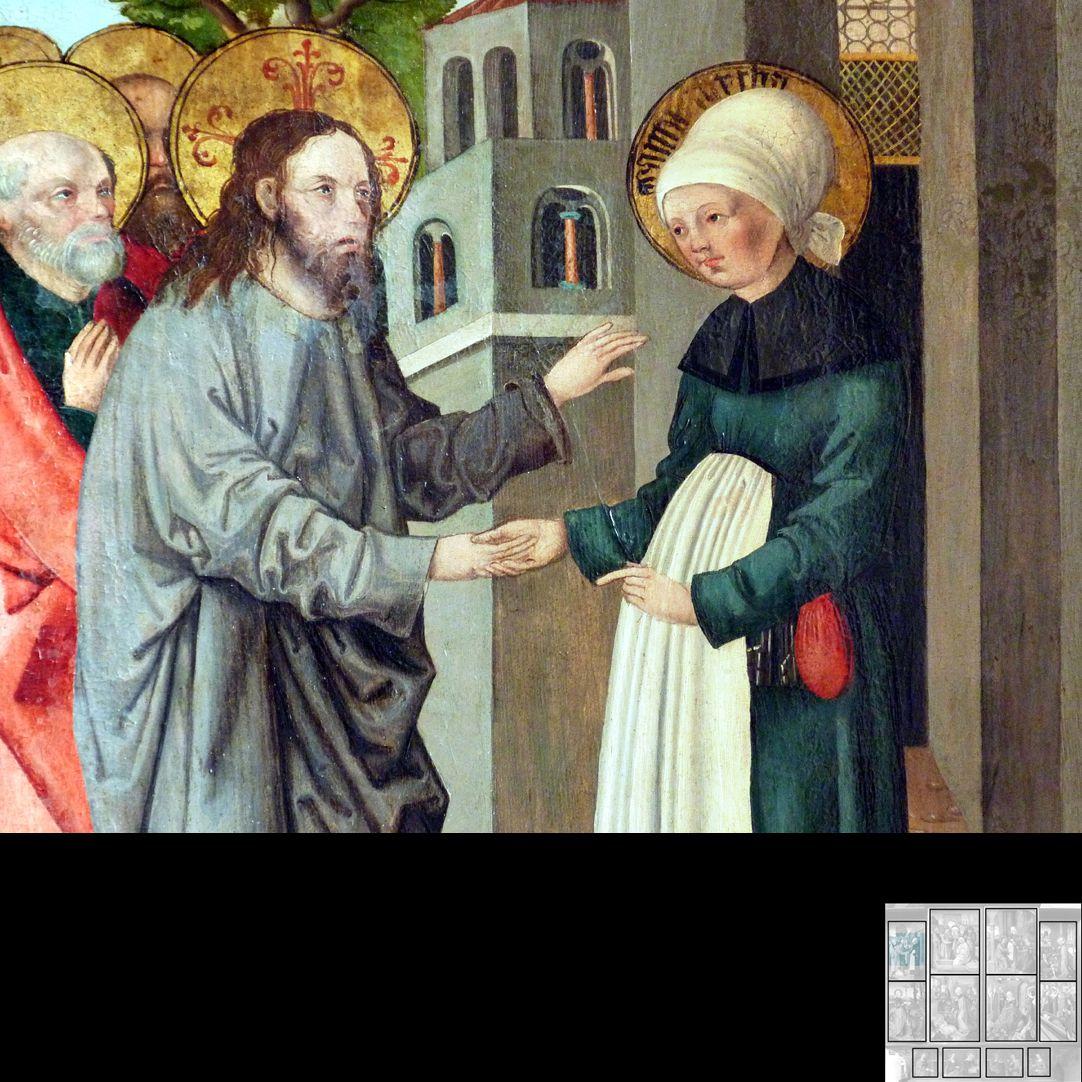 Marthaaltar Martha empfängt Jesus und seine Jünger, Detail