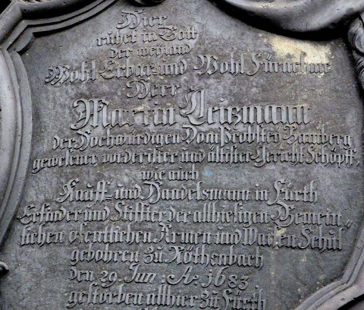 Martin Leitzmann Inschrift, oben