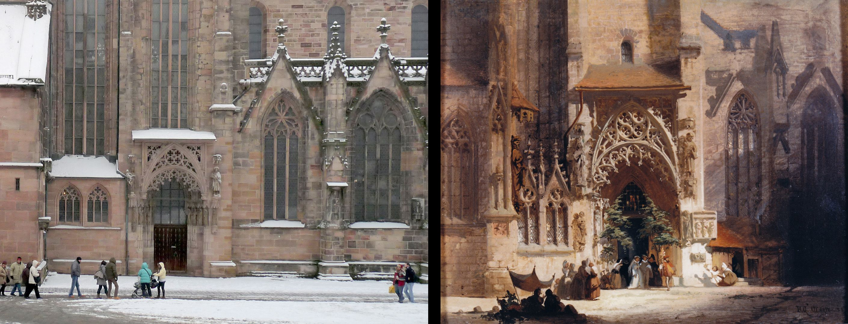 Brautportal an der Sebalduskirche Fotovergleich mit dem tatsächlichem Zustand