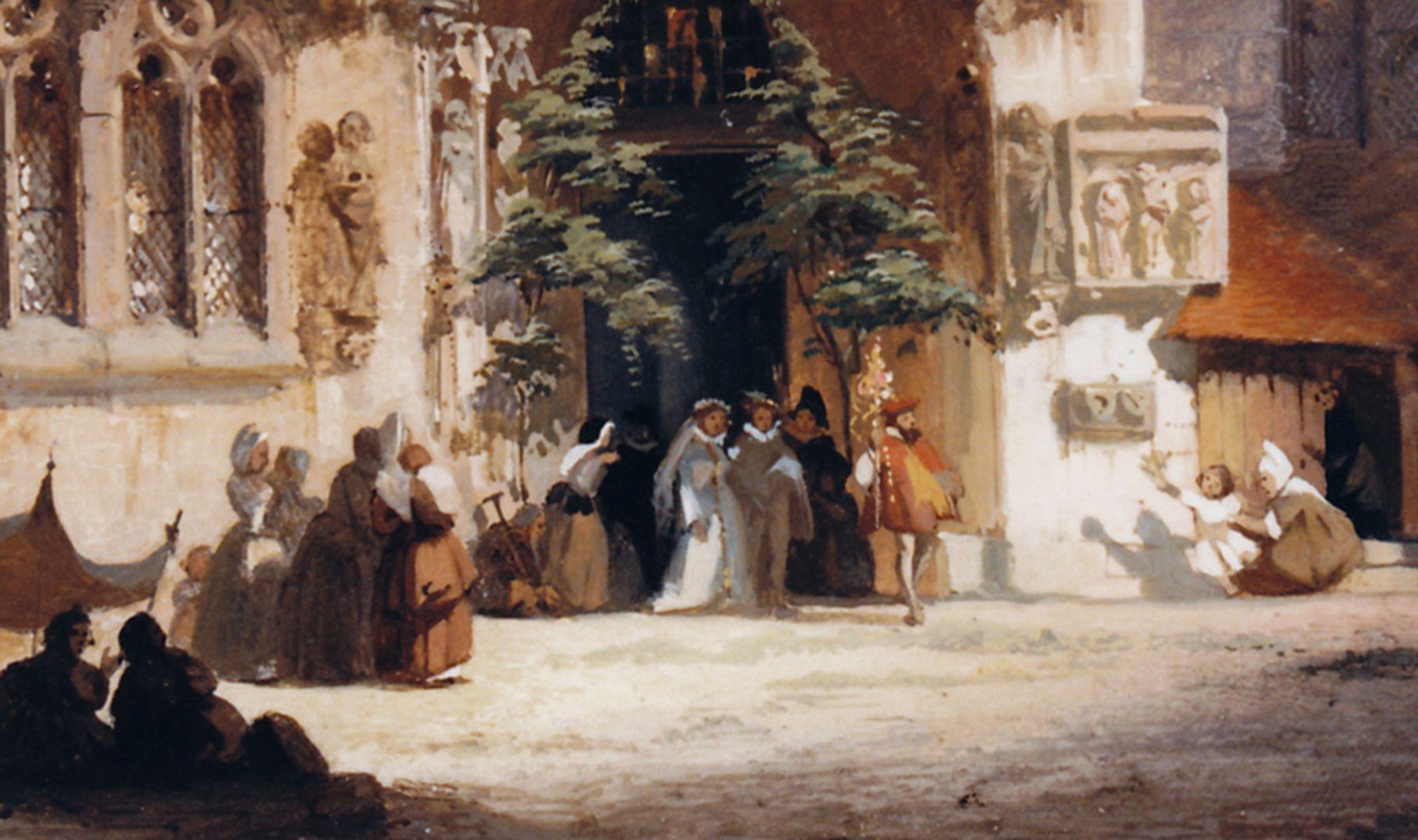 Brautportal an der Sebalduskirche Detail mit Hochzeitsgesellschaft