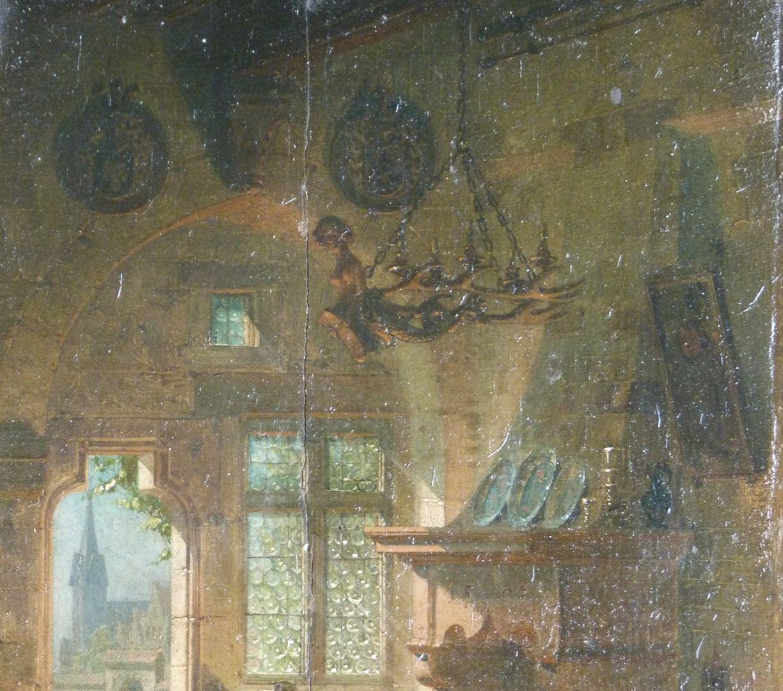 Kaminzimmer obere Bildpartie mit Totenschilden und Leuchterweibchen