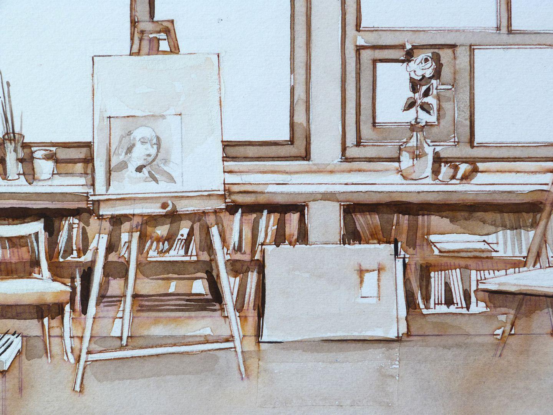 Mein Atelier Inventar des Ateliers, Detailansicht mit Selbstportrait auf der Staffelei, Zeichnungen, Mappen, Büchern, etc.