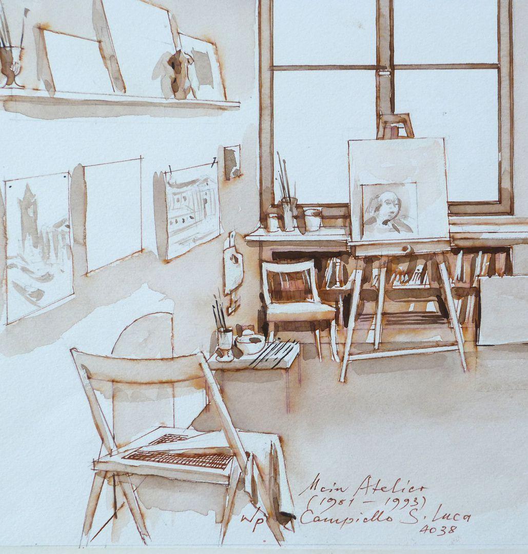 Mein Atelier Inventar des Ateliers, Detailansicht mit Zeichnungen, Malutensilien, etc.
