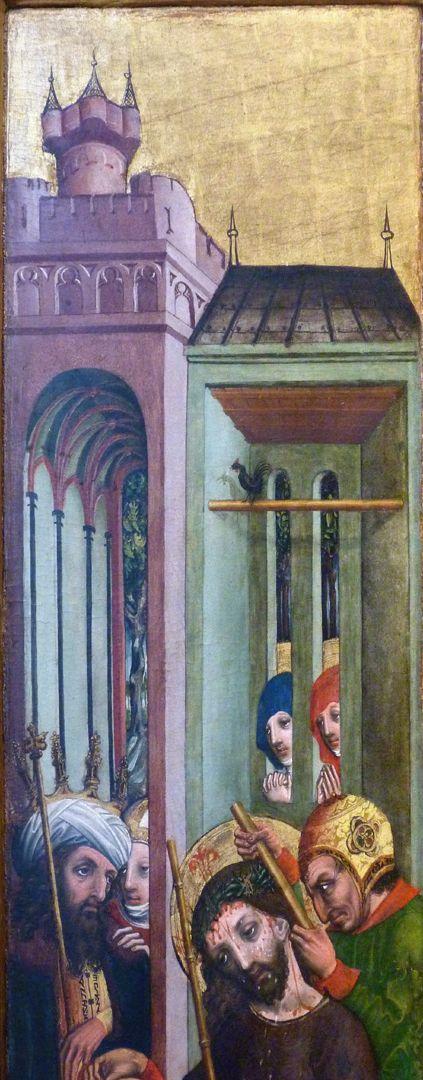 """Passionsaltar der Johanniskirche linke Tafel, obere Hälfte, """"deutsche Architektur"""""""