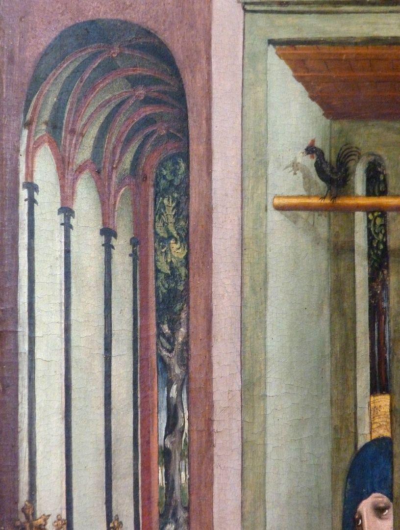 """Passionsaltar der Johanniskirche linke Tafel, obere Hälfte, """"deutsche Architektur"""", Detail"""