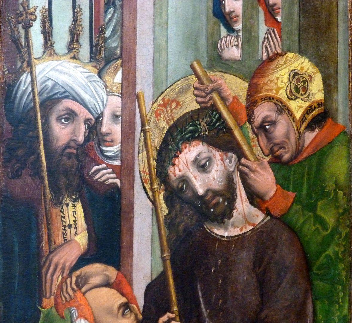 Passionsaltar der Johanniskirche linke Tafel, obere Hälfte, Dornenkrönung vor Kaiphas
