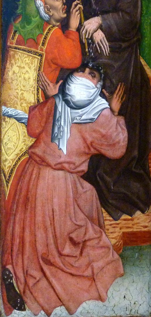 Passionsaltar der Johanniskirche linke Tafel, untere Hälfte, spukende Gestalt