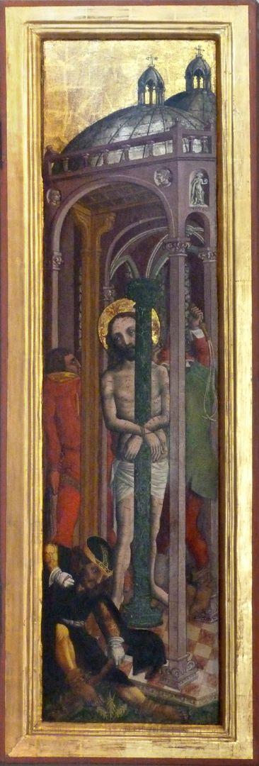 Passionsaltar der Johanniskirche rechte Tafel, Darstellung der Geißelung in einem rein italienischem Raum