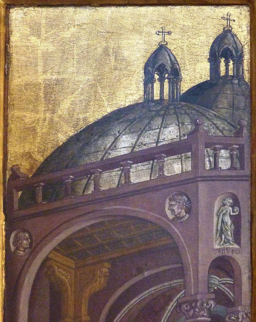 Passionsaltar der Johanniskirche rechte Tafel, oberer Bildbereich mit italienischer Baukunst