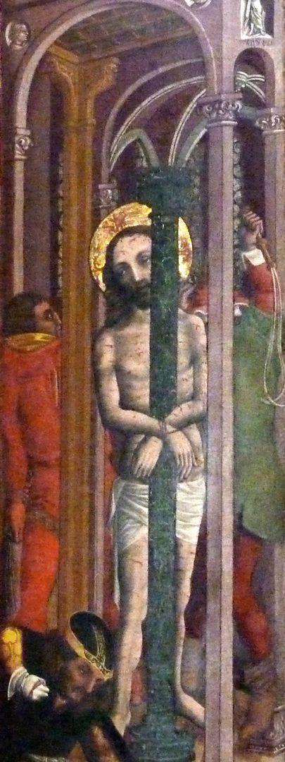 Passionsaltar der Johanniskirche rechte Tafel, Jesus an der Geißelsäule