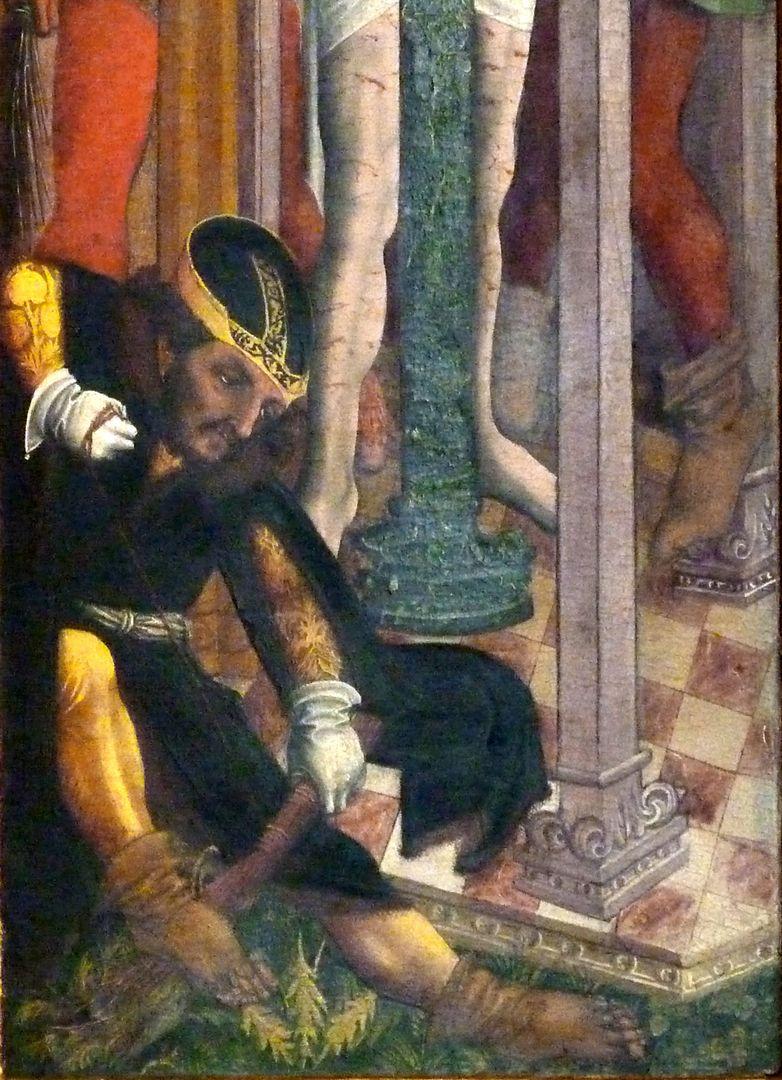 Passionsaltar der Johanniskirche rechte Tafel, Peiniger bei der Herstellung einer Rute