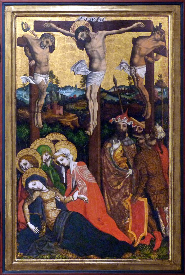 Passionsaltar der Johanniskirche Mitteltafel, Gekreuzigte mit Marias Ohnmacht, Hauptmann, Longinus und Soldat mit dem Essigschwamm