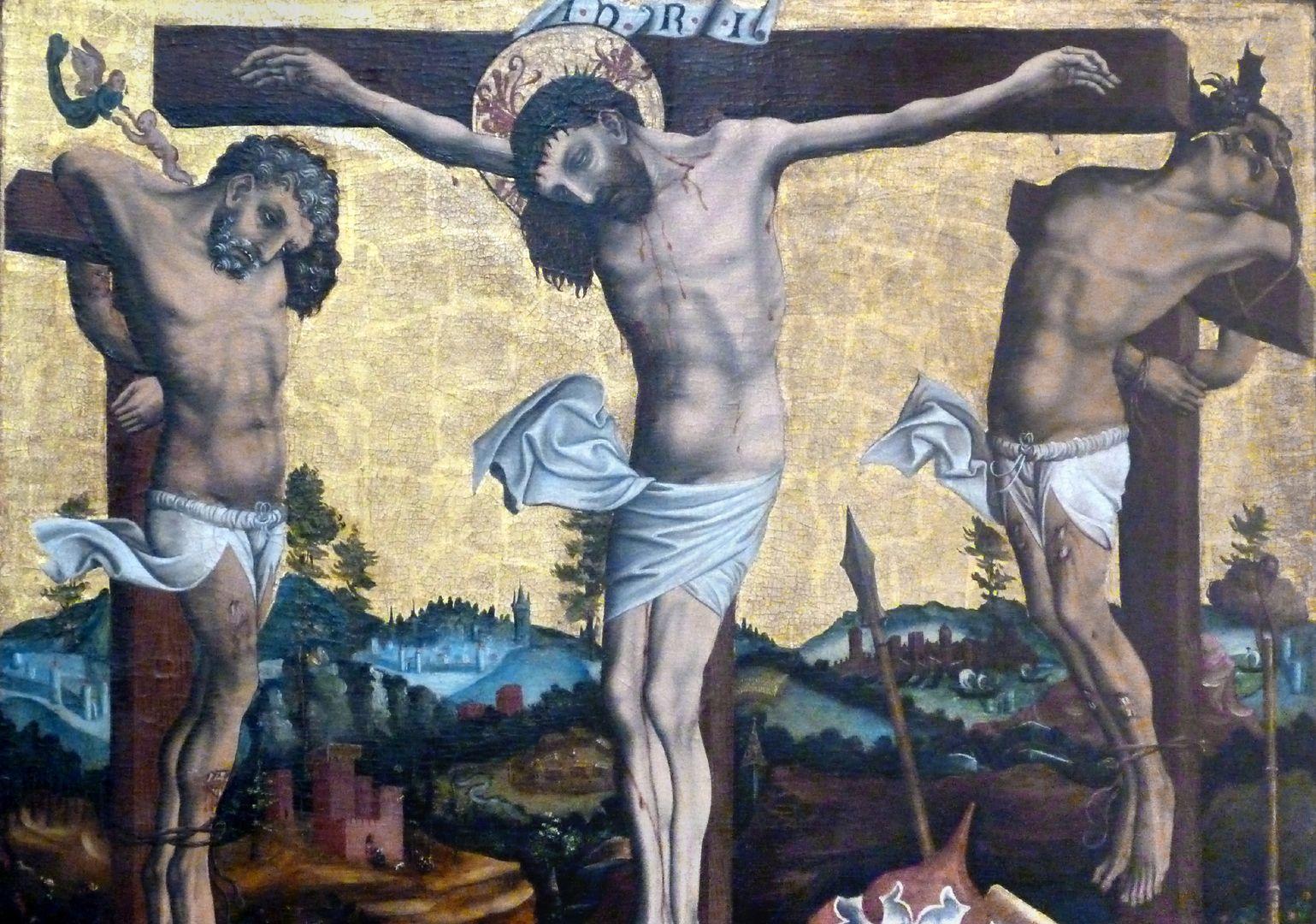 Passionsaltar der Johanniskirche Mitteltafel, Detail der Gekreuzigten im Moment deren Todes, man siehe die Seele des Guten und des bösen Schächers