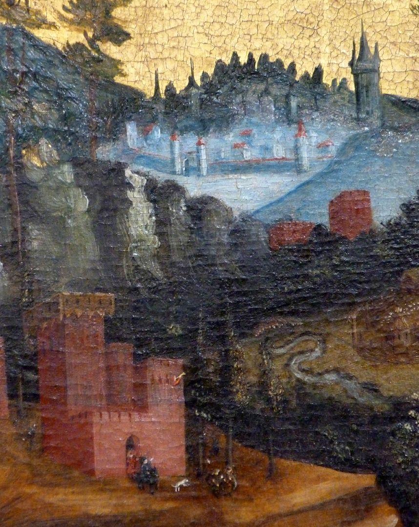 Passionsaltar der Johanniskirche Mitteltafel, deutsche Stadt rechts von Christus, unten links Burg