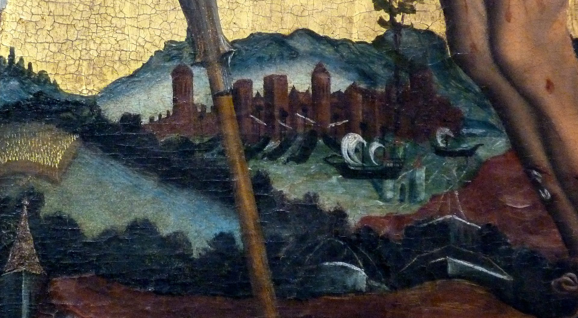 Passionsaltar der Johanniskirche Mitteltafel, fremde Stadt am Wasser links von Christus