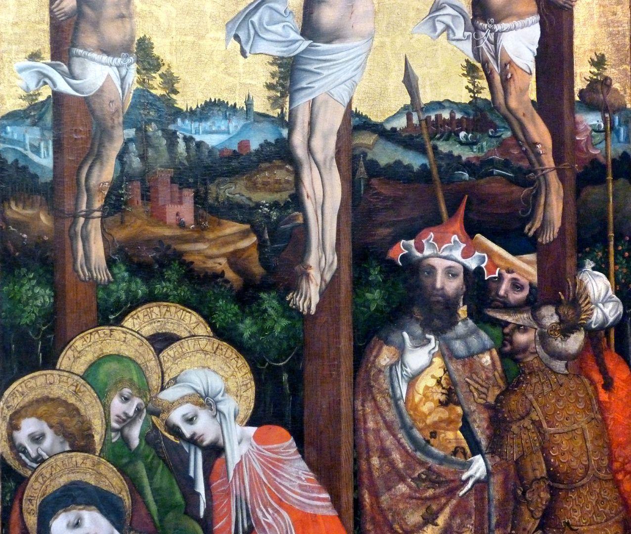 Passionsaltar der Johanniskirche Mitteltafel, Mittelbereich mit Männer- und Frauengruppe