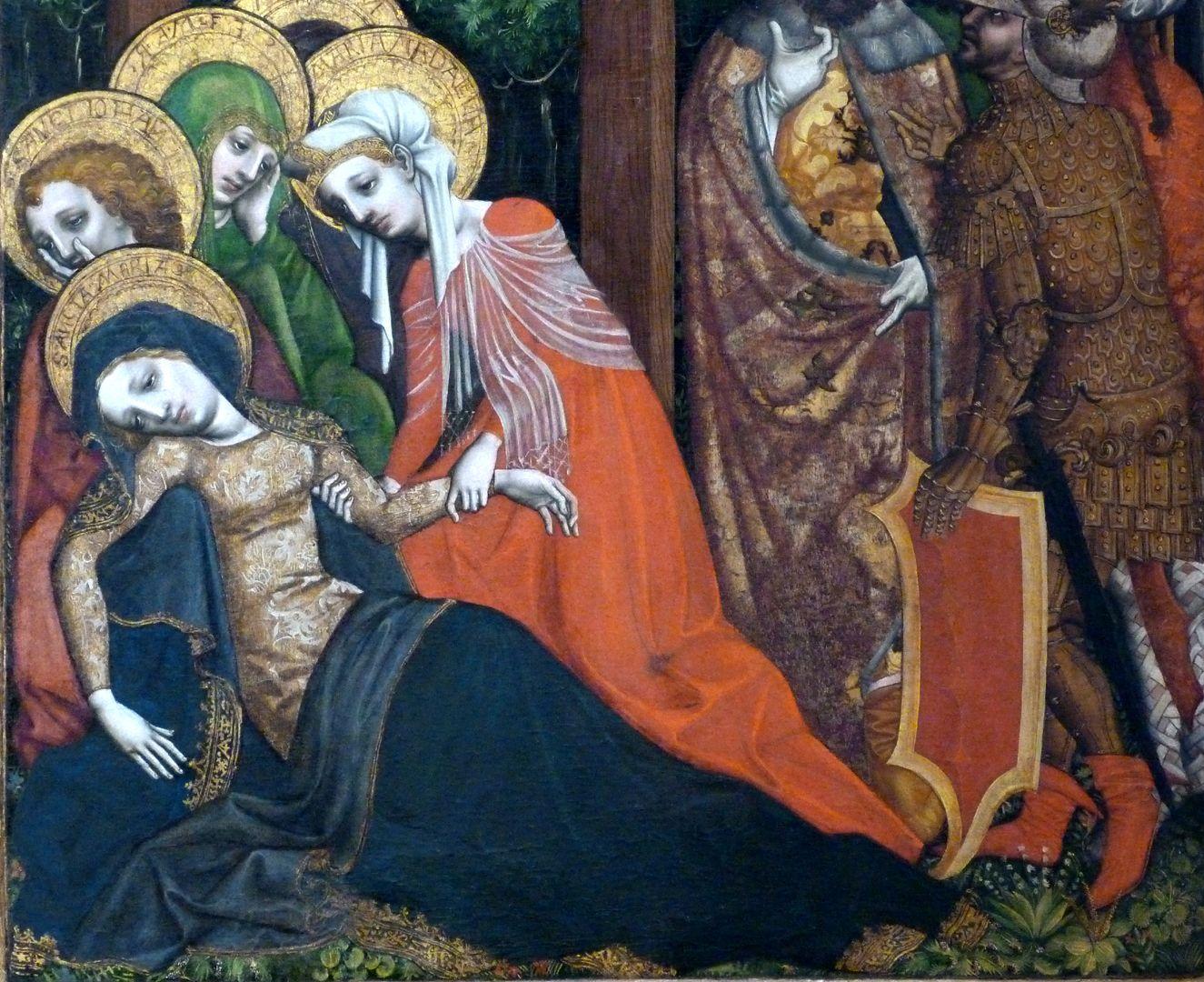 Passionsaltar der Johanniskirche Ohnmacht Mariä, man beachte den italienischen Charakter der Frauengesichter